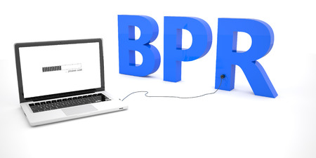 reorganization: BPR - Business Process Reengineering - laptop notebook computer connected to a word on white background. 3d render illustration. Stock Photo