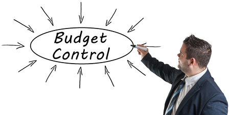 budgets: Budget Control - young businessman drawing information concept on whiteboard.