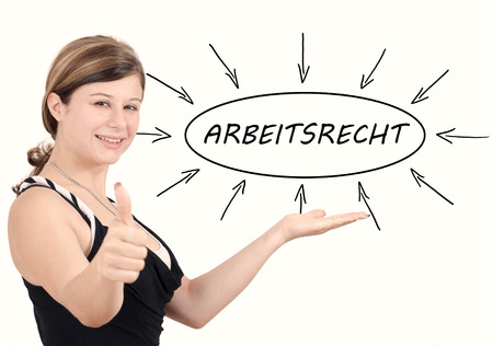 arbeitsrecht: Arbeitsrecht - german word for labor�law - young businesswoman introduce process information concept. Isolated on white.