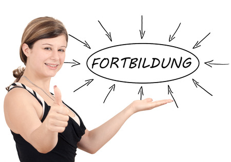 further: Fortbildung - german word for further education - young businesswoman introduce process information concept. Isolated on white.