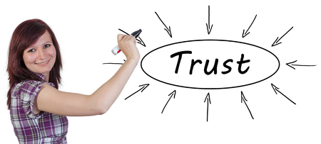 rely: Trust - young businesswoman drawing information concept on whiteboard.