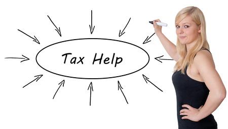 excise: Tax Help - young businesswoman drawing information concept on whiteboard. Stock Photo