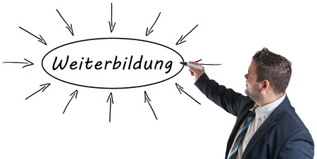 further education: Weiterbildung - german word for further education - young businessman drawing information concept on whiteboard. Stock Photo