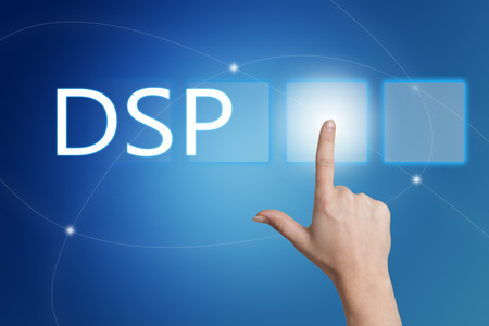 multiple targets: DSP - Demand Side Platform - hand pressing button on interface with blue background. Stock Photo