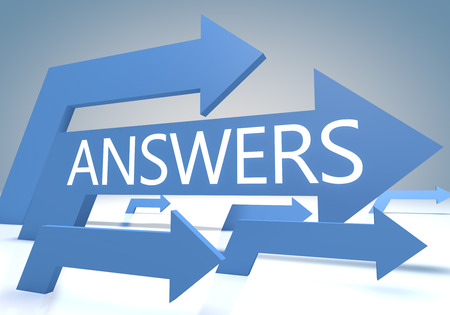 search query: Answers 3d render concept with blue arrows on a bluegrey background. Stock Photo