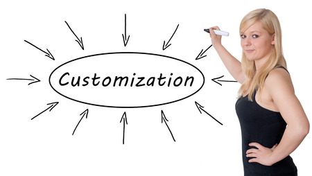 customization: Customization - young businesswoman drawing information concept on whiteboard. Stock Photo
