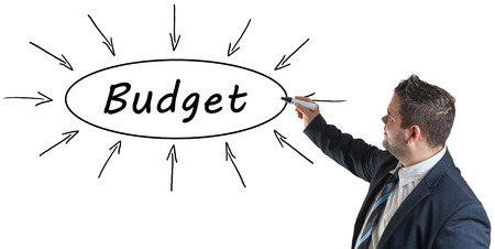 budgets: Budget - young businessman drawing information concept on whiteboard. Stock Photo