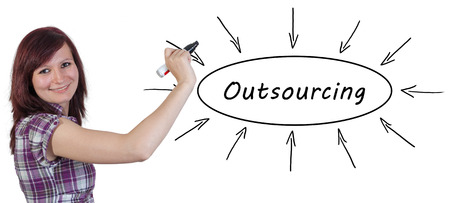 offshoring: Outsourcing - young businesswoman drawing information concept on whiteboard. Stock Photo