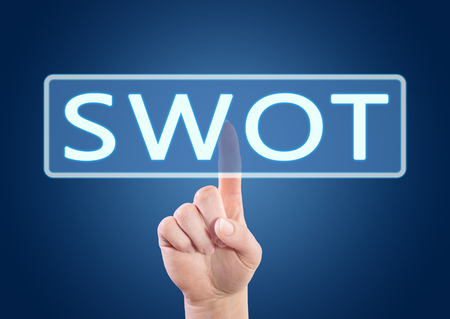 weaknesses: SWOT for strengths, weaknesses, opportunities and threats - hand pressing button on interface with blue background. Stock Photo