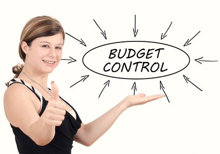 current account: Budget Control - young businesswoman introduce process information concept. Isolated on white.