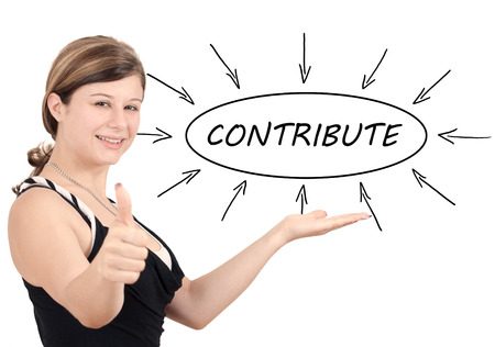 most: Contribute - young businesswoman introduce process information concept. Isolated on white. Stock Photo