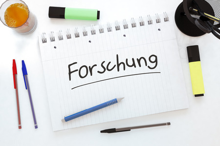 metodo cientifico: Forschung - german word for research - handwritten text in a notebook on a desk - 3d render illustration. Foto de archivo
