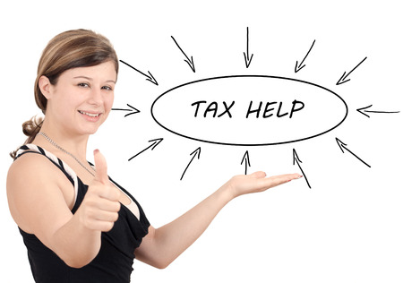 excise: Tax Help - young businesswoman introduce process information concept. Isolated on white.