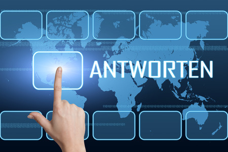 respond: Antworten - german word for answer or respond concept with interface and world map on blue background