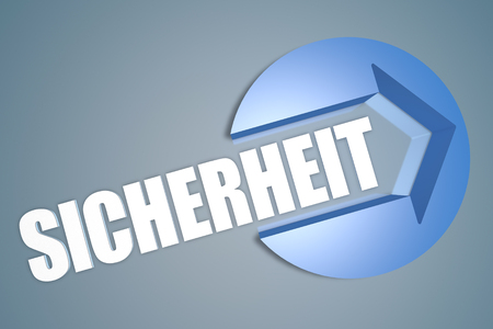sicherheit: Sicherheit -german word for safety or security - text 3d render illustration concept with a arrow in a circle on blue-grey background Stock Photo