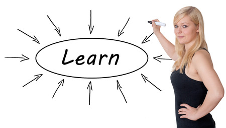 lead sled: Learn - young businesswoman drawing information concept on whiteboard.