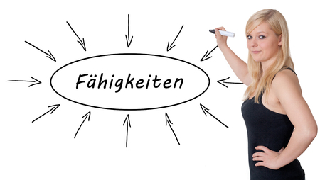 lead sled: Faehigkeiten - german word for skills - young businesswoman drawing information concept on whiteboard.