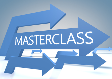 elearn: Masterclass render concept with blue arrows on a bluegrey background.