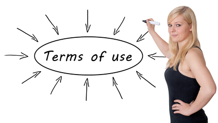 acceptable: Terms of use - young businesswoman drawing information concept on whiteboard.