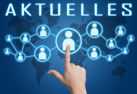 news current events: Aktuelles - german word for news, current, topically or updated concept with hand pressing social icons on blue world map background. Stock Photo