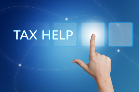 excise: Tax Help - hand pressing button on interface with blue background.