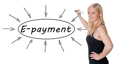epayment: E-payment - young businesswoman drawing information concept on whiteboard.