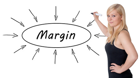 margin: Margin - young businesswoman drawing information concept on whiteboard. Stock Photo
