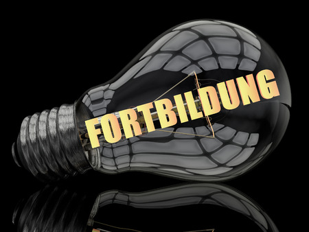 further: Fortbildung - german word for further education - lightbulb on black background with text in it. 3d render illustration.