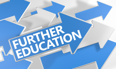 further education: Further Education 3d render concept with blue and white arrows flying over a white background. Stock Photo