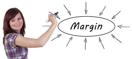 margin: Margen - joven empresaria dibujo concepto de informaci�n en la pizarra. Foto de archivo