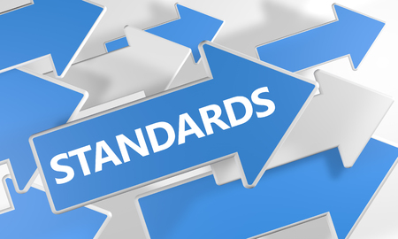 standardization: Standards 3d render concept with blue and white arrows flying over a white background. Stock Photo
