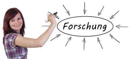 metodo cientifico: Forschung - palabra alemana para la investigaci�n - joven empresaria dibujo concepto de informaci�n en la pizarra. Foto de archivo