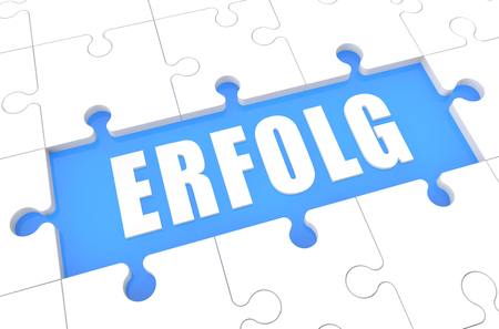 Erfolg - german word for success - puzzle 3d render illustration with word on blue background