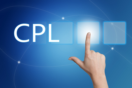 cpl: CPL - Cost per Lead - hand pressing button on interface with blue background. Stock Photo