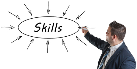 mastery: Skills - young businessman drawing information concept on whiteboard. Stock Photo
