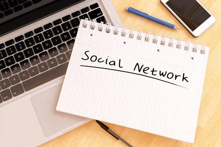 wikis: Social Network - handwritten text in a notebook on a desk - 3d render illustration.