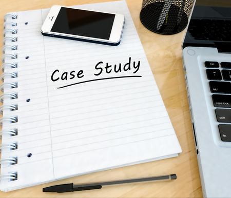 Case Study - handwritten text in a notebook on a desk - 3d render illustration.