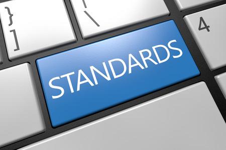 Standards - keyboard 3d render illustration with word on blue key Imagens