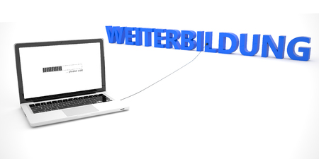 further education: Weiterbildung - german word for further education - laptop notebook computer connected to a word on white background. 3d render illustration.
