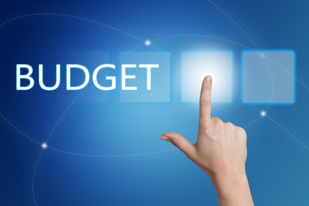 budgets: Budget - hand pressing button on interface with blue background.