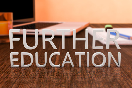 further: Further Education - letters on wooden desk with laptop computer and a notebook. 3d render illustration.