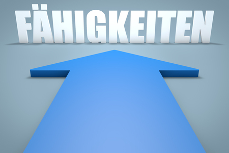 leading education: Faehigkeiten - german word for skills - 3d render concept of blue arrow pointing to text. Stock Photo