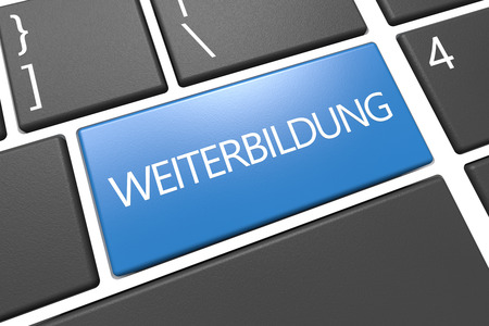 further education: Weiterbildung - german word for further education - keyboard 3d render illustration with word on blue key