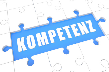competence: Kompetenz - german word for competence - puzzle 3d render illustration with word on blue background Stock Photo
