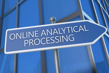 online analytical processing: Online Analytical Processing - illustration with street sign in front of office building. Stock Photo