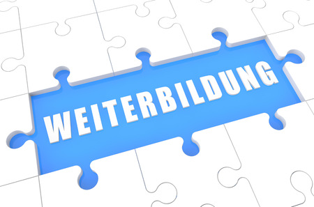 further: Weiterbildung - german word for further education - puzzle 3d render illustration with word on blue background