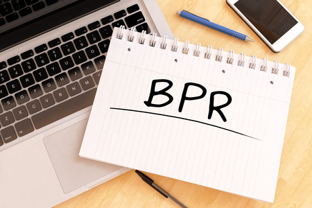 business process reengineering: BPR - Business Process Reengineering - handwritten text in a notebook on a desk - 3d render illustration. Stock Photo