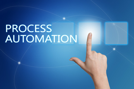 systems operations: Process Automation - hand pressing button on interface with blue background. Stock Photo