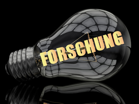 metodo cientifico: Forschung - german word for research - lightbulb on black background with text in it. 3d render illustration. Foto de archivo