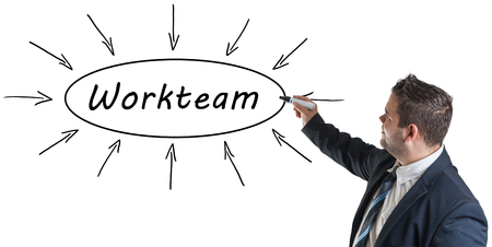 workteam: Workteam - young businessman drawing information concept on whiteboard.
